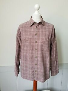 Vintage 90s Textured Thick Cotton Shirt in Taupe Fleck Check *XL* TJ23