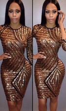 Sexy Lady Gold Sequins Short Mini Bodycon Cocktail Party Evening Pencil Dresses