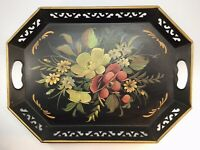 Vintage Pilgrim Art Toleware Serving Tray Hand Painted Floral Flowers