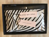 Love My Soul Leather Clutch Bag-Black With Zebra Pattern-incl. Gift Box & Bag