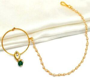Wedding Green Pearl Traditional Indian Nathini Nose Ring Pin Nath Jewelry Bridal