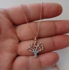 ROSE GOLD OVER 925 STERLING SILVER TREE NECKLACE PENDANT W/ .75 CT TURQUOISE