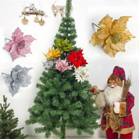 Artificial Flowers for Christmas Decor Glitter Poinsettia For Home Decoration