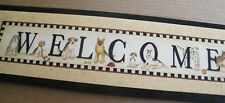 Welcome dog dogs wood Country Primitive plaque home decor Sign 6x21""