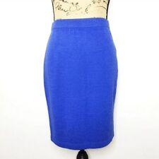 St. John Collection Pencil Skirt 4 Blue Wool Blend Knit