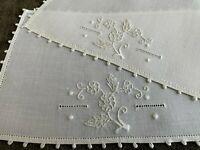 8 Vintage Cocktail Napkins Floral Embroidery Off- White Linen  Picot Edge