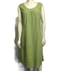 TravelSmith Womens 16 Apple Green Sleeveless Linen Dress Knee-Length