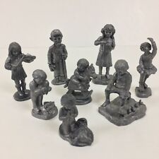 8 Children Pewter Figurines by Ricker Dancing Playing Vintage Boys And Girls