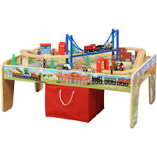 Kids Wooden 50-Piece Small Train Set w 2in1 Activity Table Red Tote Chalkboard