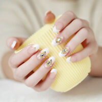 24pcs/set 3D full cover DIY bride wedding false fake nails tips nail art desi AF