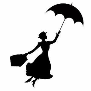 1pcs Mary Poppins Stickers Vinyl Decal Car Door Window Wall Decor Black / White