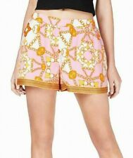 Guess Womens Shorts Pink USA Size Large L  Printed Gilded Satin Pull-on $49- 461