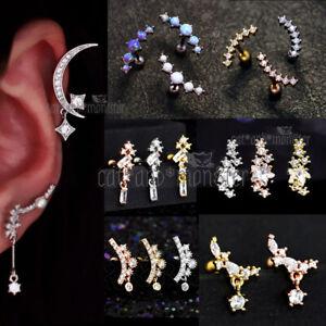 Opal GEM Drop Dangle Ear Climber Stud Ring Bar Cartilage Helix Piercing Earring