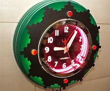 """A 22"""" Curtis Neon Clock, Ruby Jeweled  Aztec, A neon clock for a lifetime."""