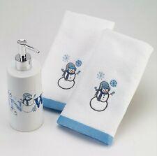 3pc Snowman avanti Let It Snow Lotion Pump & 2 Fingertip Towels Box Set Nib $40