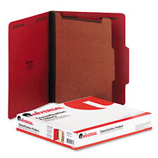 UNIVERSAL Pressboard Classification Folders Letter Four-Section Ruby Red 10/Box