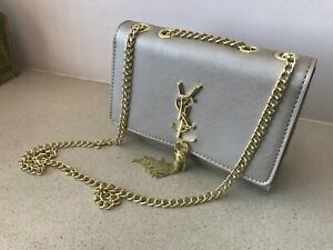 SMALL LADIES GOLD SHOULDER BAG WITH CHAIN TASSEL CHIC ELEGANT NEW
