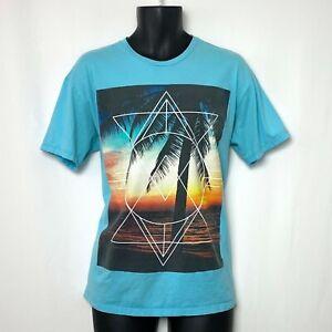 Tony Hawk Mens SS Light Blue T Shirt w Palm Tree and Sunset Graphic Size XL