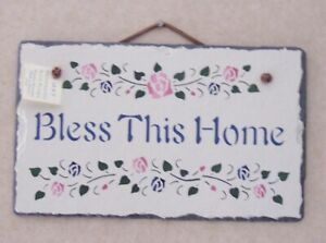 Bless This Home Hand-stenciled Slate made in Maine - Hang Indoors or Outdoors
