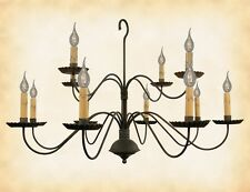 """2 Tier 12 Arm Colonial Chandelier """"Monticello"""" Handcrafted Country Candle Light"""
