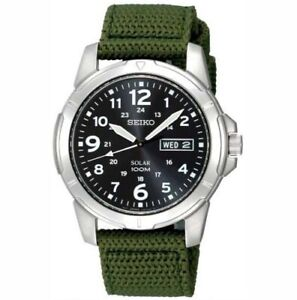SEIKO SOLAR MEN WATCH 100M SNE095P2 FREE EXPRESS BLACK DIAL GREEN NYLON BAND