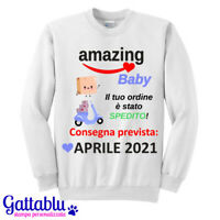 Felpa donna Baby gravidanza consegna PERSONALIZZATA CON MESE E ANNO NASCITA!