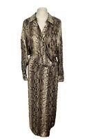 BNWT Zara Snakeskin Print Wrap Shirt Dress Size Medium/ Uk 12