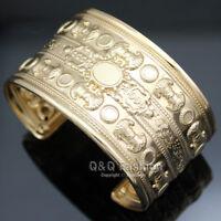 Victorian Egyptian Roman Gold Brocade Palace Sculpture Bracelet Bangle Cuff H