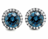 Stud Earring Solid 925 Sterling Silver Blue Round Halo Jewelry Women Cz Party Nw