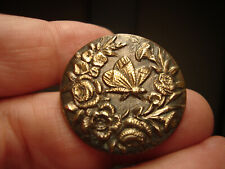 Antique brass chased BUTTERFLY and FLOWER design button
