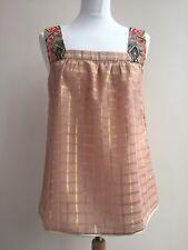 VINEET BAHL - Anthropologie - Dusky Pink Gold Embroidered Swing Vest Tank MEDIUM