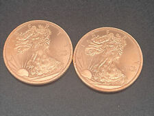 Lot Of 2 1oz Walking Liberty American Eagle Copper Coins .999 Round 2 oz's Total