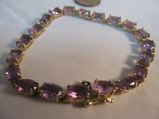 10k Gold AMETHYST Statement Bracelet  (10Ct.) 7in.L.  SALE-SAVE $700.   #754