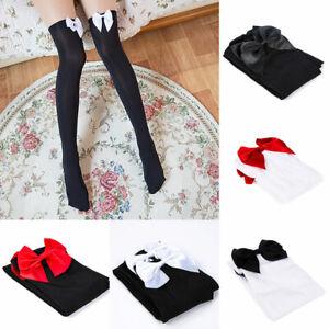 Women Sexy Over The Knee Stockings Girls Bow Lolita Maid Thigh High Long Socks