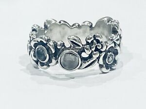 Pandora Ring Ribbon Blue Topaz moonstone 90121BTP Nature Serenity Size 52 Chip