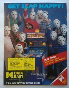 Data East Slap Shot Arcade FLYER Original Hockey Game Art Print Promo Sheet 1988