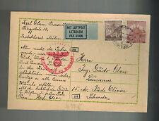 1941 Prossnitz Bohemia Moravia Postcard Cover Guido Glass Switzerland Maildrop