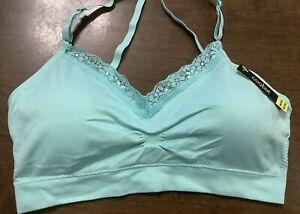 Coobie Seamless V-Neck Lace Trim Bralette Bra One Size Mint Green 9042 NWT