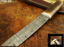 """10.5"""" HANDMADE DAMASCUS STEEL TACTICAL FIXED BLADE TANTO KNIFE TOP! (2798-4"""
