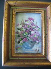 """Framed Miniature Painting Flowers in vase Original Artwork 2"""" x 2.75"""" Vintage"""
