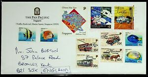 SINGAPORE PAN PACIFIC 11v FISH BUS HORSE CART CAR ON AIRMAIL COVER TO ENGLAND GB