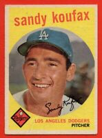 1959 Topps #163 Sandy Koufax VG CREASED Los Angeles Dodgers FREE SHIPPING