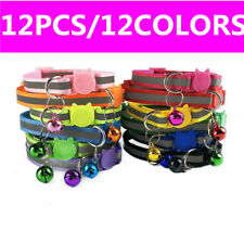 Lot of 12 Safety Breakaway Cat Collars W/ Bell Quick Release Buckle Reflective