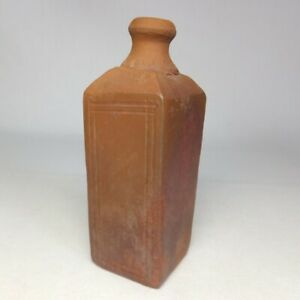 D0779: Japanese real old BIZEN stoneware small square bottle w/appropriate clay