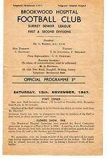 Brookwood Hospital v Crystal Palace A XI  Friendly Programme 15.11.1947
