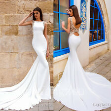 Mermaid Wedding Dresses Formal Bridal Ball Gowns Open Back Size 4 8 12 16 Plus