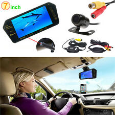 "Wireless Reverse Backup Camera + 7"" HD Bluetooth MP5 Car Rearview Mirror Monitor"