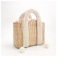 Pearls Beach Bag Women Summer New Elegant Woven Beaded Straw Knitted Large Handb