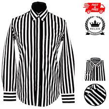 Relco Mens Candy Stripe Long Sleeved Shirt Button Down Collar Mod Weller Striped