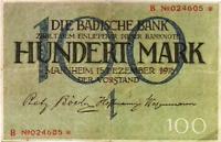 1918 Germany BADEN 100 Mark Banknote